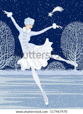 Christmas card with skater - stock vector