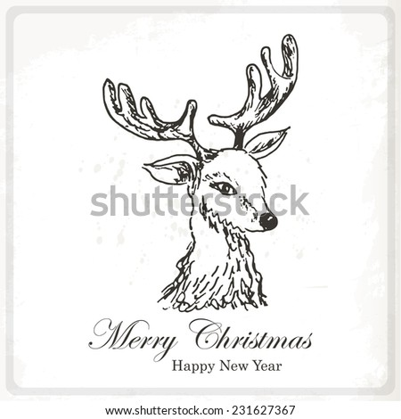 Christmas card with sketch deer. Hand drawing vector illustration