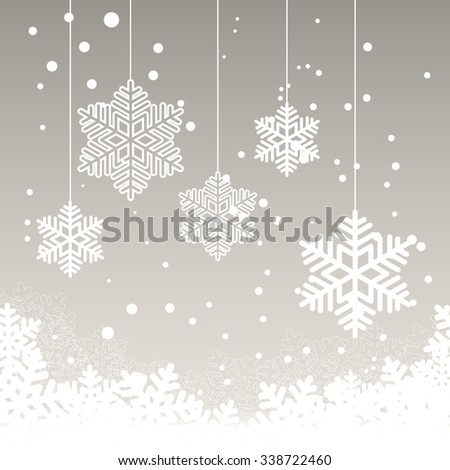 Christmas card with snow on grey background and place for your text. Vector illustration. - stock vector