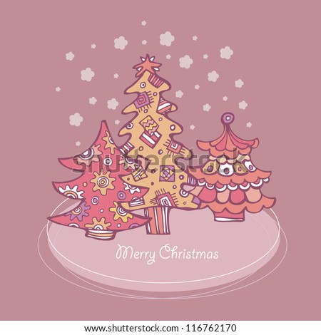 Christmas card with Snowflakes and Christmas trees - stock vector