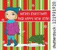 Christmas card with snowflakes and cute girl pulling sled with christmas tree. vector illustration in green and red color - stock vector
