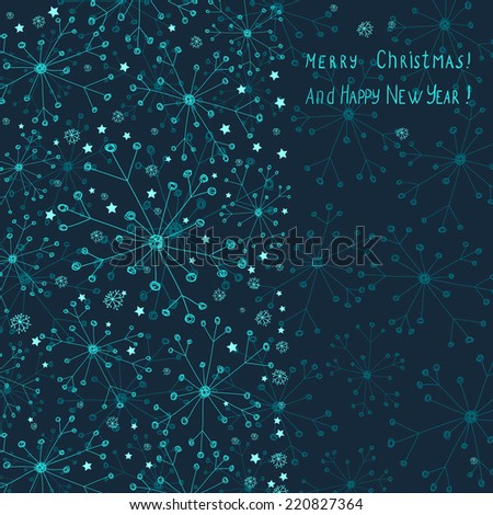 christmas card with snowflakes and stars - stock vector
