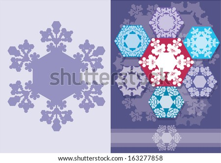 Christmas card with snowflakes geometric design. Horizontal , have place for text congratulation - stock vector
