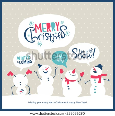 Christmas card with snowman  - stock vector