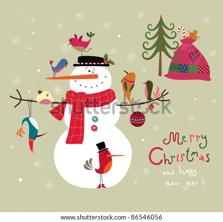 Christmas card with snowman and birds - stock vector
