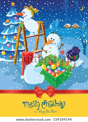 Christmas card with snowman and tree - stock vector