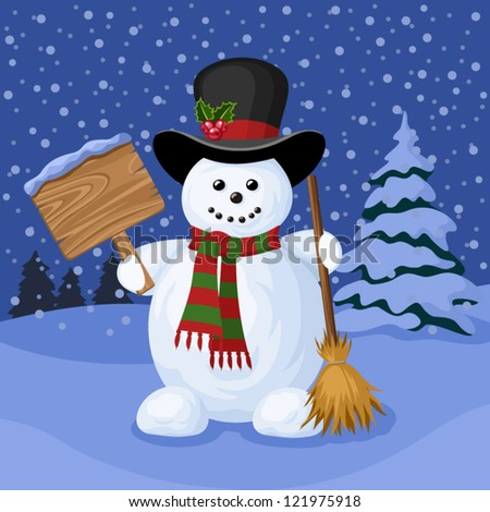 Christmas card with snowman and winter landscape. Vector illustration. - stock vector