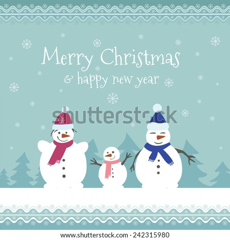 Christmas card with snowman family  - stock vector