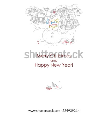 Christmas card  with snowman. freehand drawing. vector illustration.  - stock vector