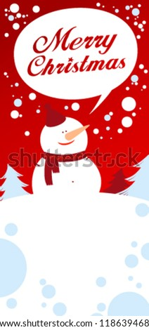 Christmas card with snowman talking Merry Christmas. - stock vector