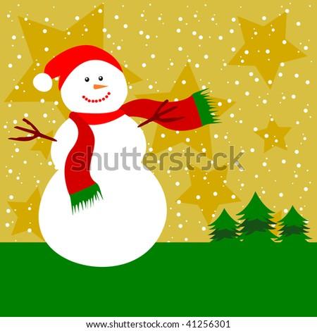 Christmas card with snowman, vector - stock vector