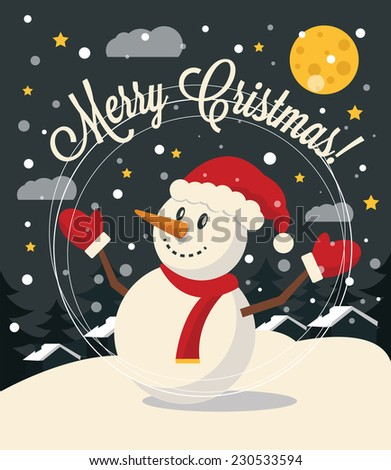 Christmas card with Snowman. Vector flat illustration - stock vector