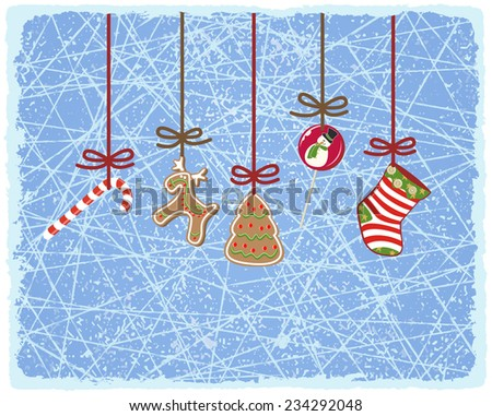 Christmas card with socks and gifts. Vector - stock vector