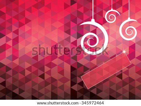Christmas card with spiral shape balls and geometrical pattern background. EPS10 vector file. - stock vector