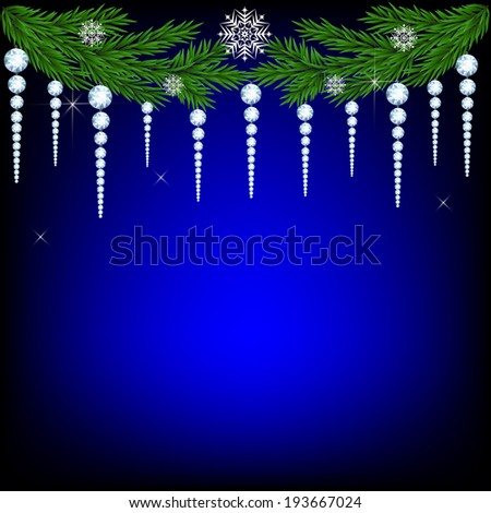 Christmas card with spruce branches decorated with icicles - stock vector