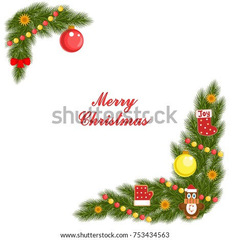 christmas card spruce corner cookies decorations stock vector
