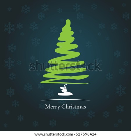 Christmas card with stylized line Christmas tree