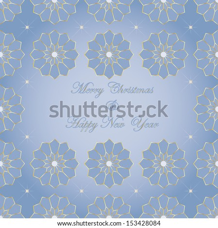 Christmas card with stylized poinsettias