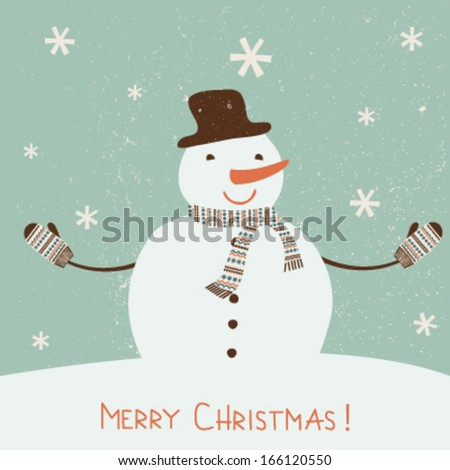 Christmas card with  stylized snowman. Vector - stock vector