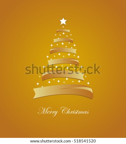 Christmas card with stylized white and golden tree and stars