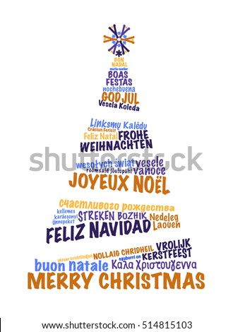 Christmas card text composition formed xmas stock vector 514815103 christmas card with text composition formed as a xmas tree with greetings in many european m4hsunfo