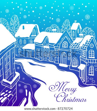 Christmas card with the city - stock vector