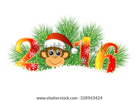 Christmas card with the numbers of the year 2016 and monkey, vector illustration - stock vector