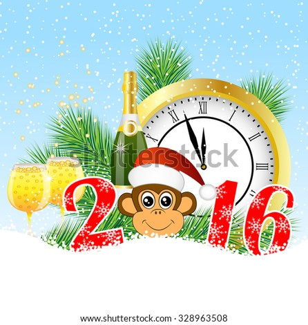 Christmas card with the numbers the year 2016,  clock and  champagne, vector illustration - stock vector