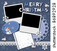 Christmas card with two framework for photo. vector illustration - stock vector