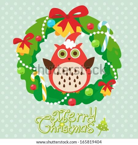 Christmas card with wreath - stock vector