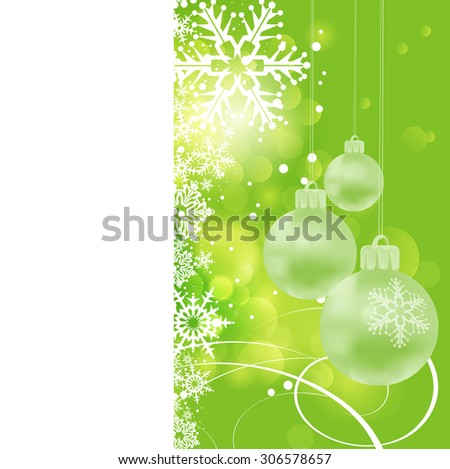 Christmas card. Xmas balls on green background. Holiday wallpaper. Christmas decoration frame. Vector