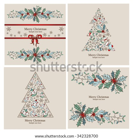 Christmas cards with Christmas decorations and Christmas tree. hand drawn  - stock vector