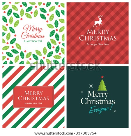 Christmas cards with christmas tree, stars, deer, logo title, gingham pattern background . Editable vector design. - stock vector