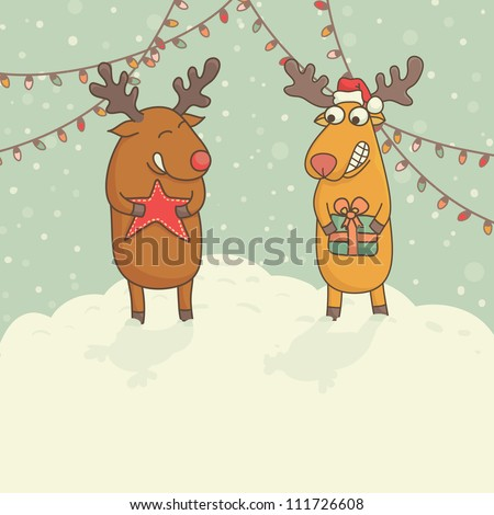 Christmas cards with cute deers - stock vector