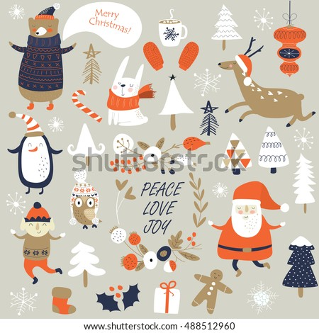 Christmas cards with cute Santa Claus, bear in knitted jumper, trees, flowers, cup of hot chocolate, mittens, snowflakes and christmas toys, penguine, elf and forest animals  in cartoon style