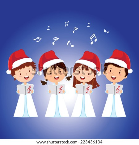 Christmas Carols. Children choir singing.  - stock vector