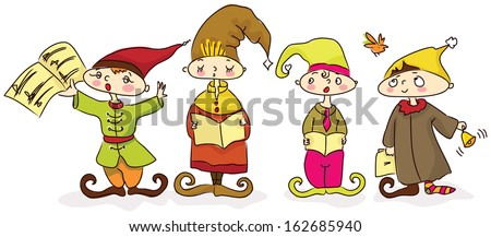 Christmas carols -  four singing dwarfs. Every one has his own character.