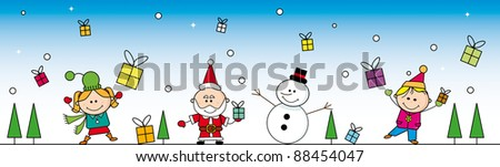 Christmas cartoon banner. Banner  with santa, a Snowman and two children. - stock vector