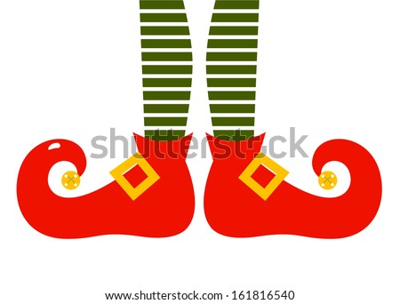 Christmas cartoon elf's legs isolated on white  - stock vector