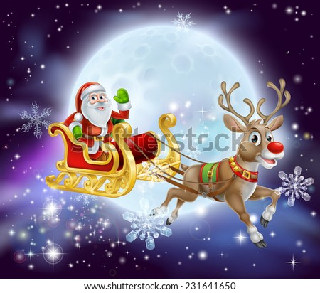 Christmas cartoon illustration of Santa clause in his sleigh or sled flying in front of a big full moon - stock vector