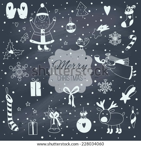 Christmas cartoon illustration with Santa Claus. EPS 10. Transparency. No gradients. - stock vector