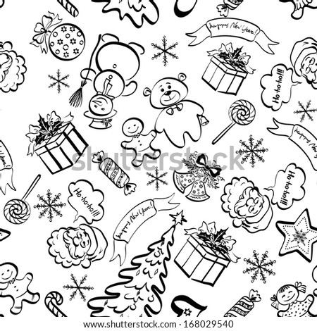 Christmas cartoon seamless pattern for holiday design, black contours on white background. Vector - stock vector