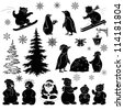 Christmas cartoon, set black silhouettes on white background: Santa Claus, fir tree, teddy bears, penguins, sportsmans, snowflakes, lantern. Vector - stock vector