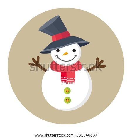 Christmas cartoon smiling snowman. Cute greeting card. Vector illustration.