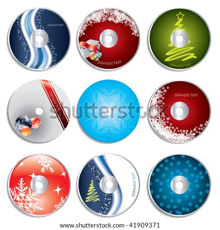 Christmas cd&dvd labels - stock vector