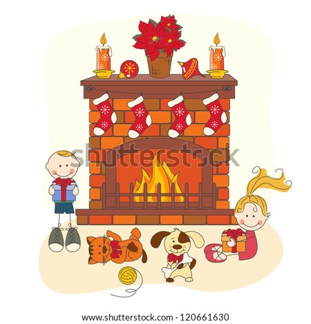 Christmas celebration.  Children and pets. Hand drawing illustration. - stock vector