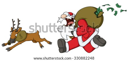 Christmas celebration humorous cartoon, Santa Claus running with money sack - stock vector