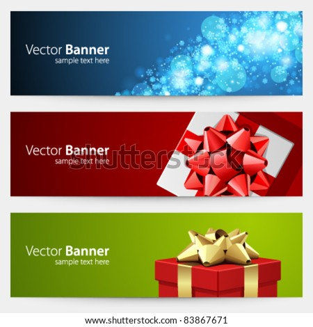 Christmas celebration vector banner or header set eps 10 - stock vector