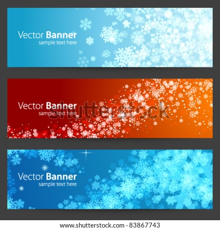 Christmas celebration vector banner or header set eps 10 - stock vector