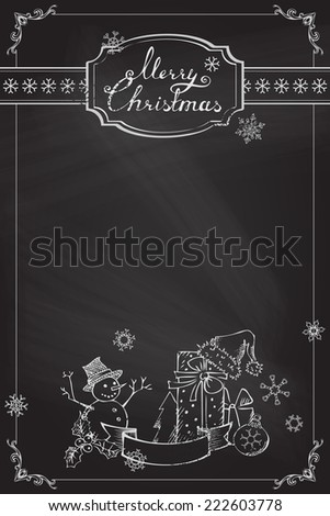 Christmas chalkboard background. Chalk ornate frame, badge, snowflakes and Christmas objects. Festive hand-drawn design.  - stock vector